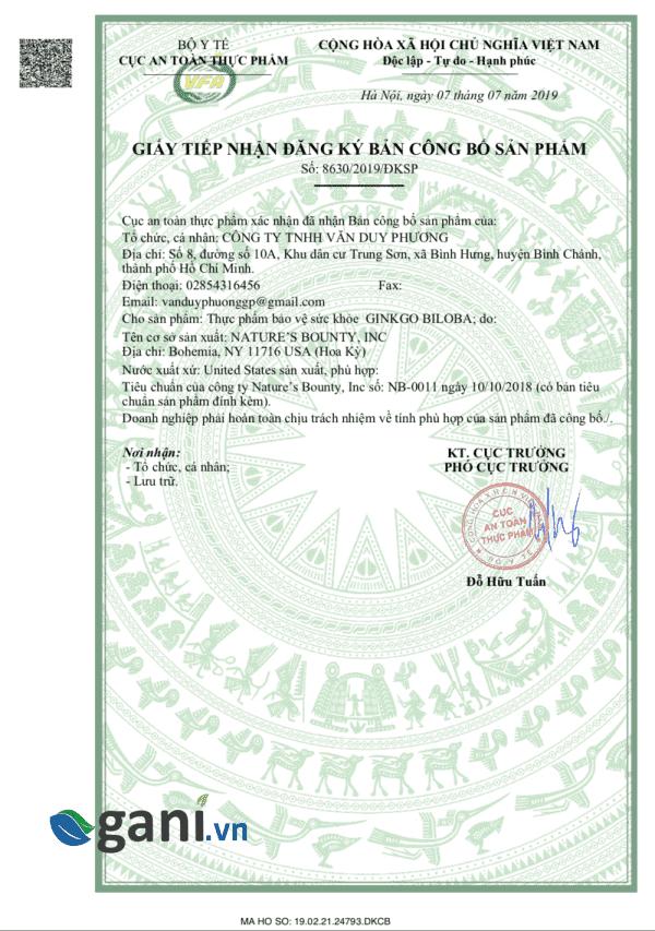 giấy công bố sản phẩm Ginkgo biloba